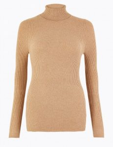 Beige ribbed polo neck jumper- M&S