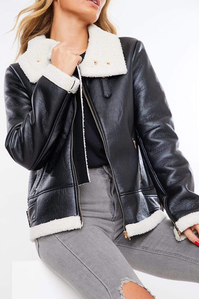 Black borg lined faux leather aviator jacket- In The Style