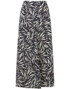 Black tiger print side split midi skirt- New Look (2)