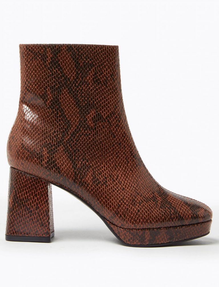Brown snakeskin platform ankle boots- M&S