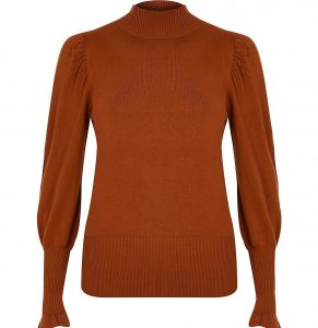 Brown turtle neck long sleeve jumper- River Island (3)