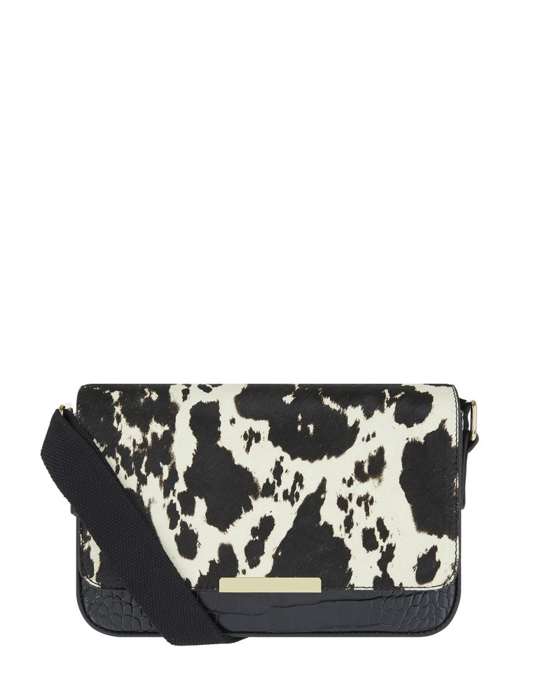 Courtney cow print shoulder bag- Accessorize