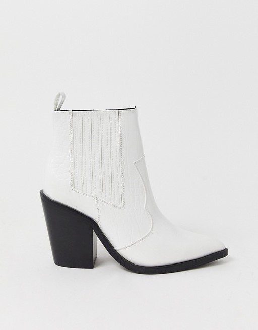 Elliot western ankle boots in white croc- Asos