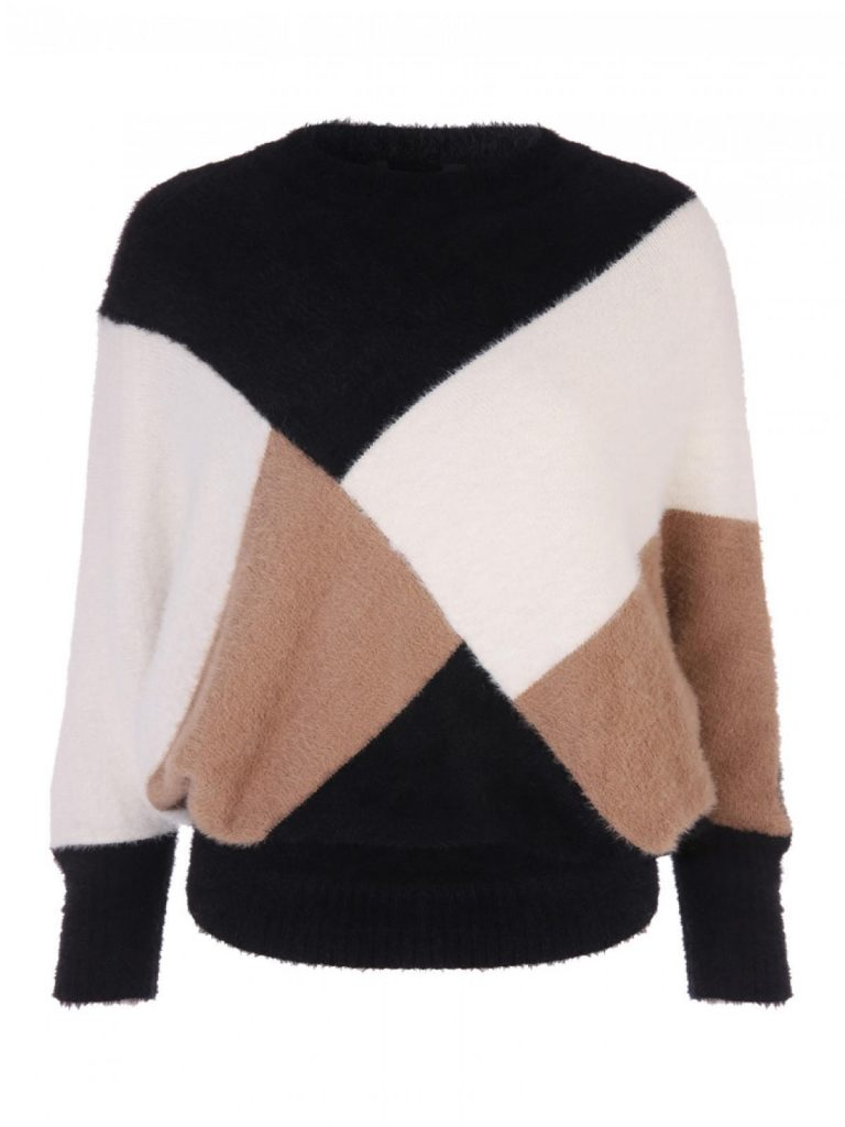 Envy black and camel colour block jumper- Peacocks
