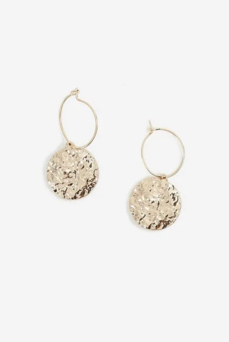 Gold beaten disk hoop earrings- Topshop