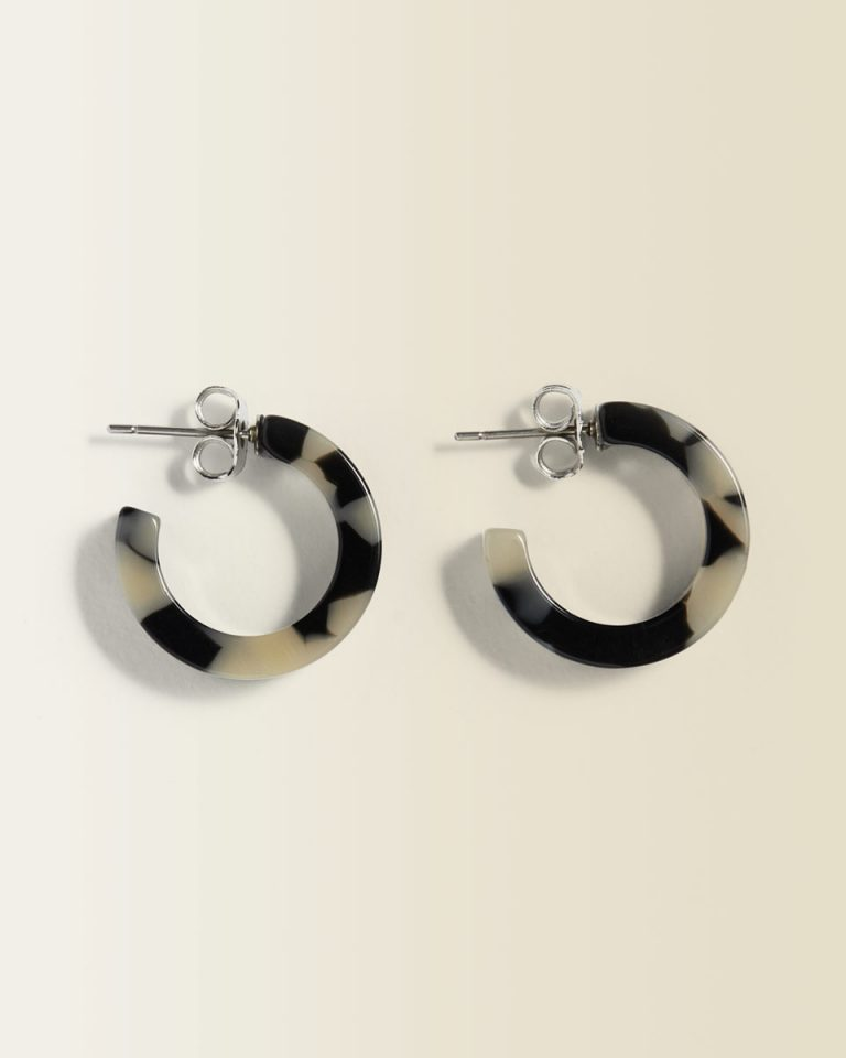 Mini resin hoop earrings- Jigsaw