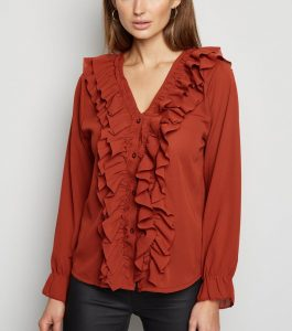 Rust Ruffle Trim Blouse: Cameo Rose Clothing