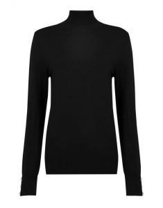Tall black button cuff roll neck jumper- Dorothy Perkins (2)