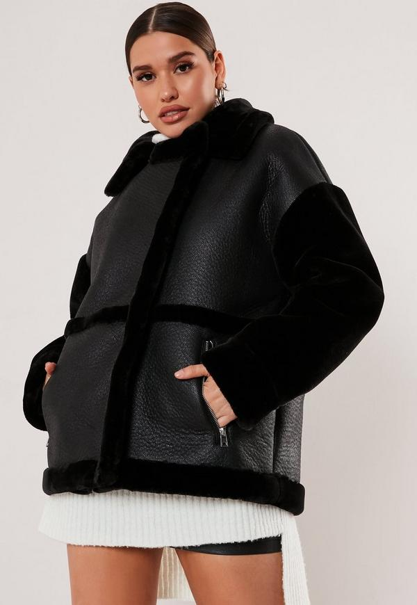 Tall black faux fur sleeve oversized aviator jacket