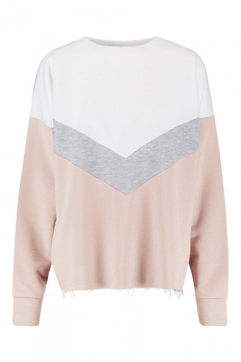 Tall chevron colour block sweat- Boohoo
