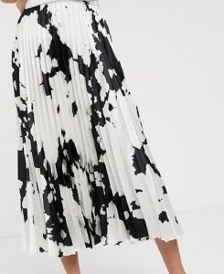 Tall cow print satin pleat midi skirt- Asos 2