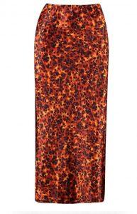 Tall tortoishell print satin midi skirt- Boohoo (2)