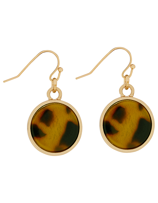 Tort resin mini drop earrings- Accessorize
