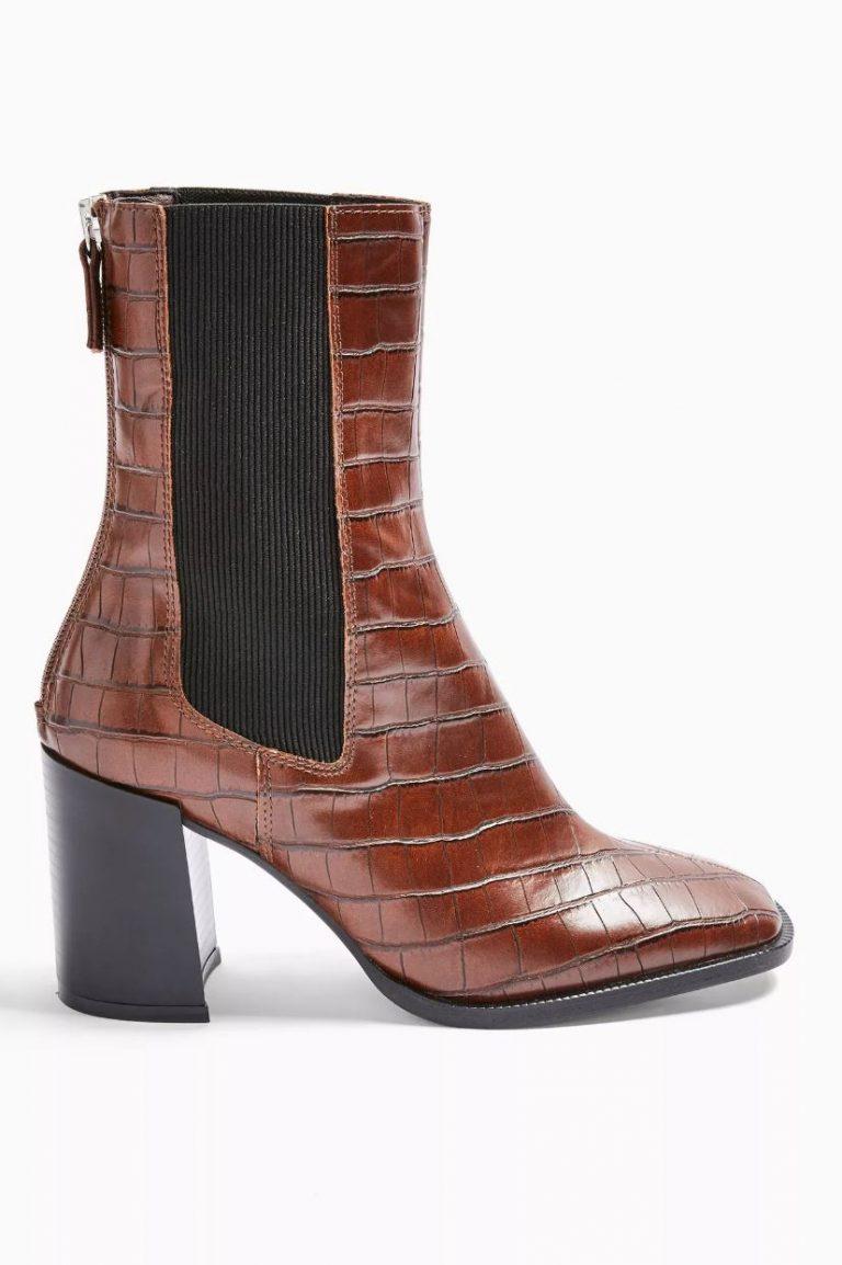 Verona tan croc vegan chelsea boots- Topshop