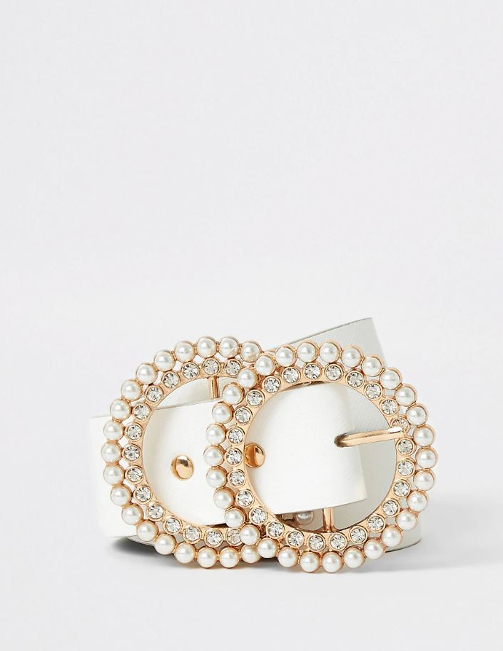 White pearl and diamante double ring belt- River Island