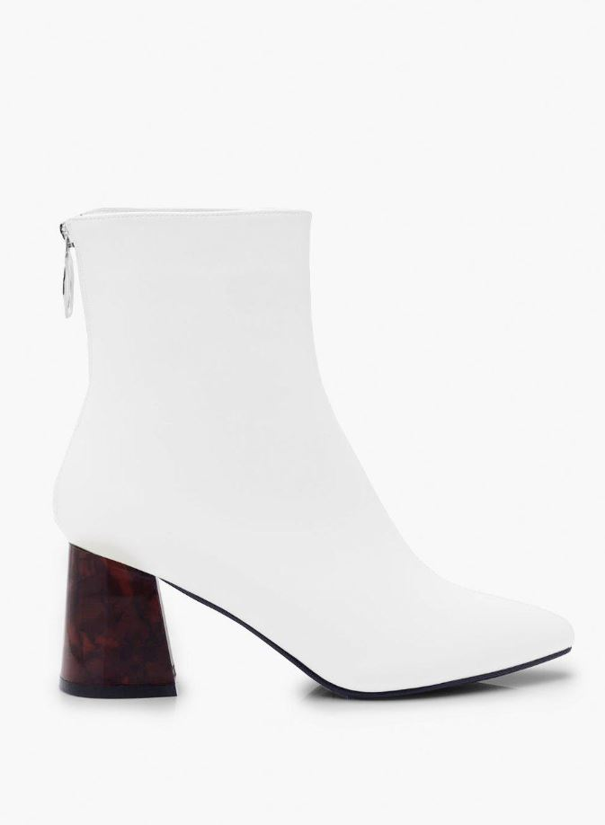 White tort pointed toe shoe boots- Boohoo