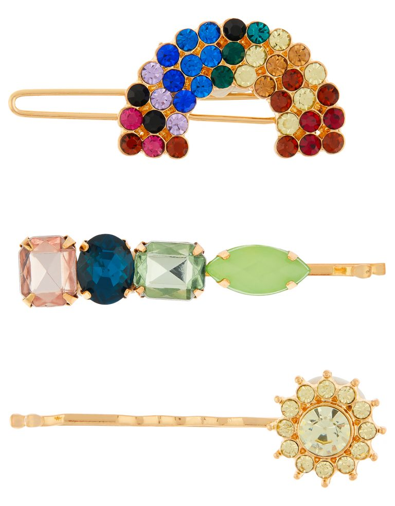 3 rainbow jewel hair slides- AccessorizeX RAINBOW JEWEL HAIR SLIDES-