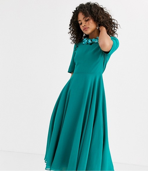 ASOS DESIGN Tall crop top embellished neckline midi dress- Asos (2)