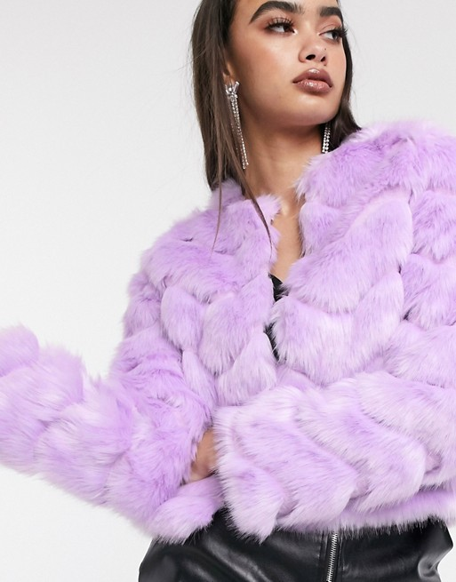 ASOS DESIGN chevron textured faux fur jacket in lilac