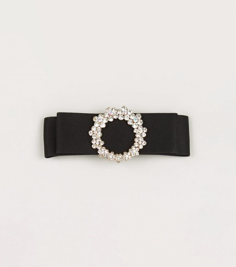 Black diamante buckle hair slide- New Look