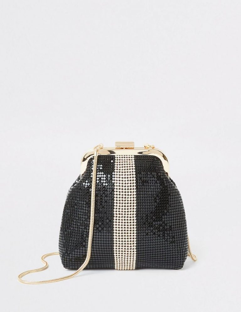 Black diamante chainmail bag- River Island