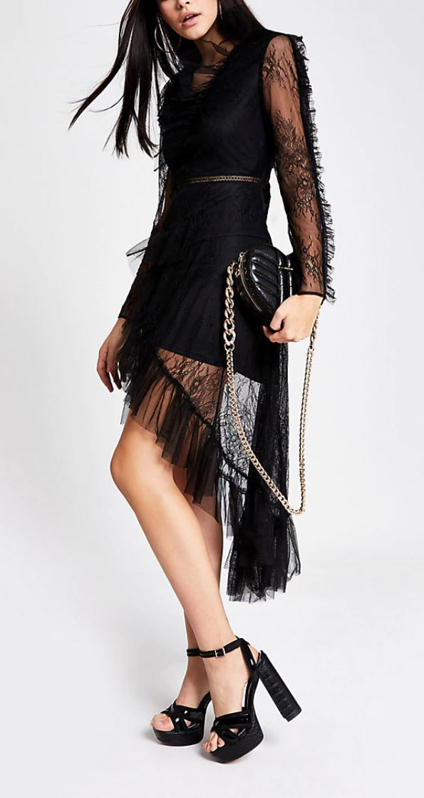 Black lace asymetric hem dress- River Island
