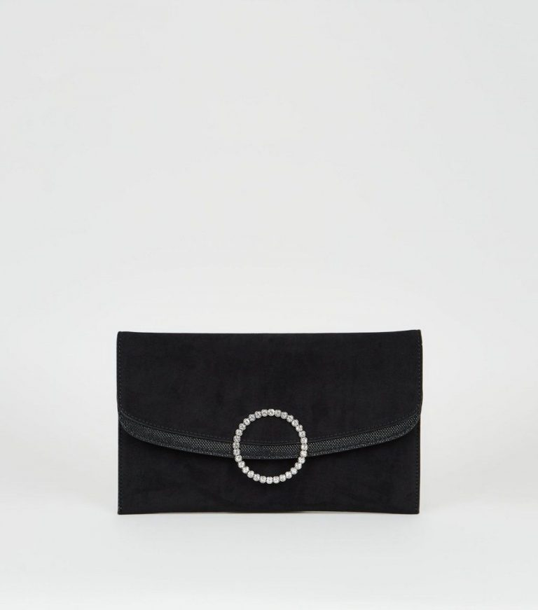 Black suedette diamante ring clutch- New Loo