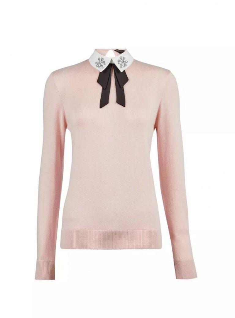 Blush embellished collar cotton mix jumper- Dorothy Perkins
