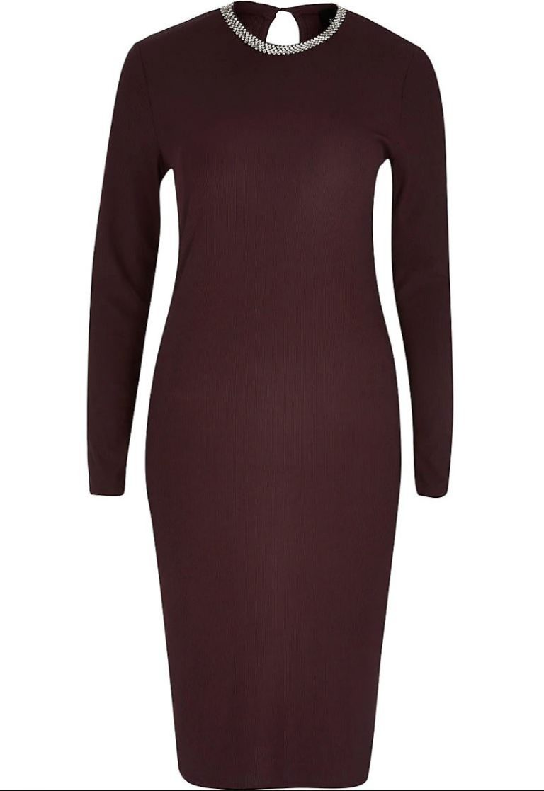 Burgundy diamante neck midi dress- River Island