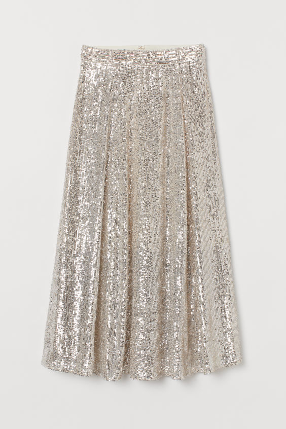 Calf-length sequinned skirt- H&M