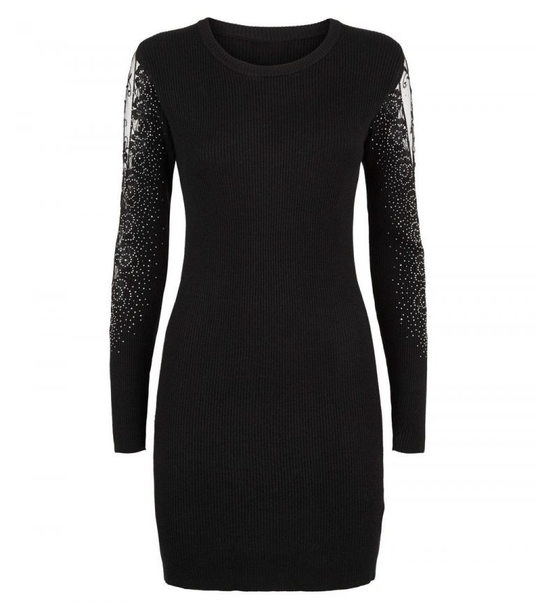 Cameo Roise black diamante lace sleeve jumper- New Look