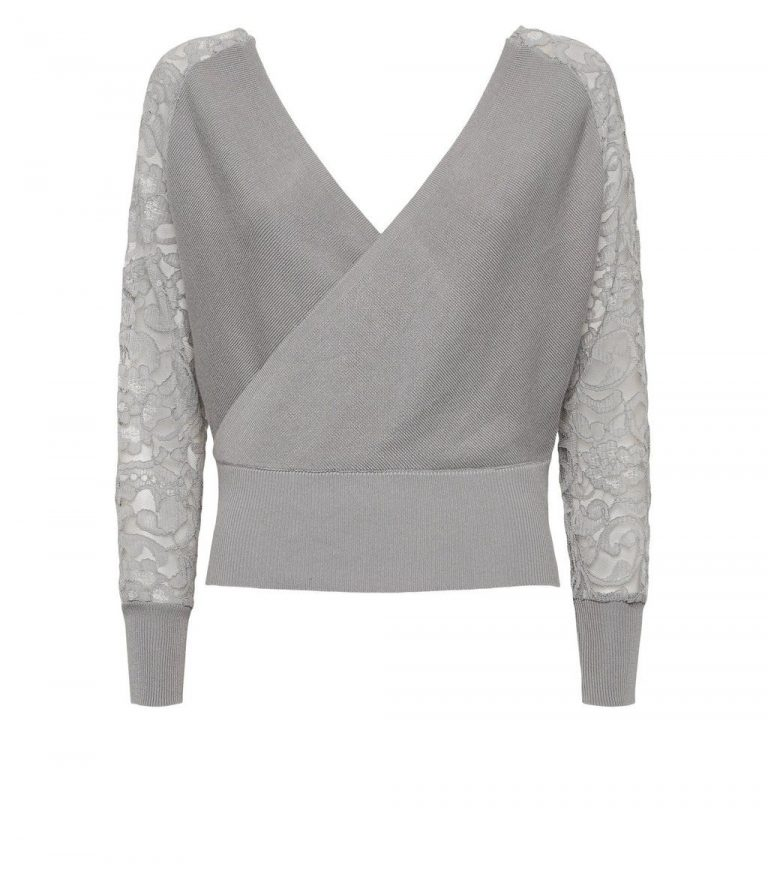 Cameo Rose grey lace sleeve wrap jumper- New Look
