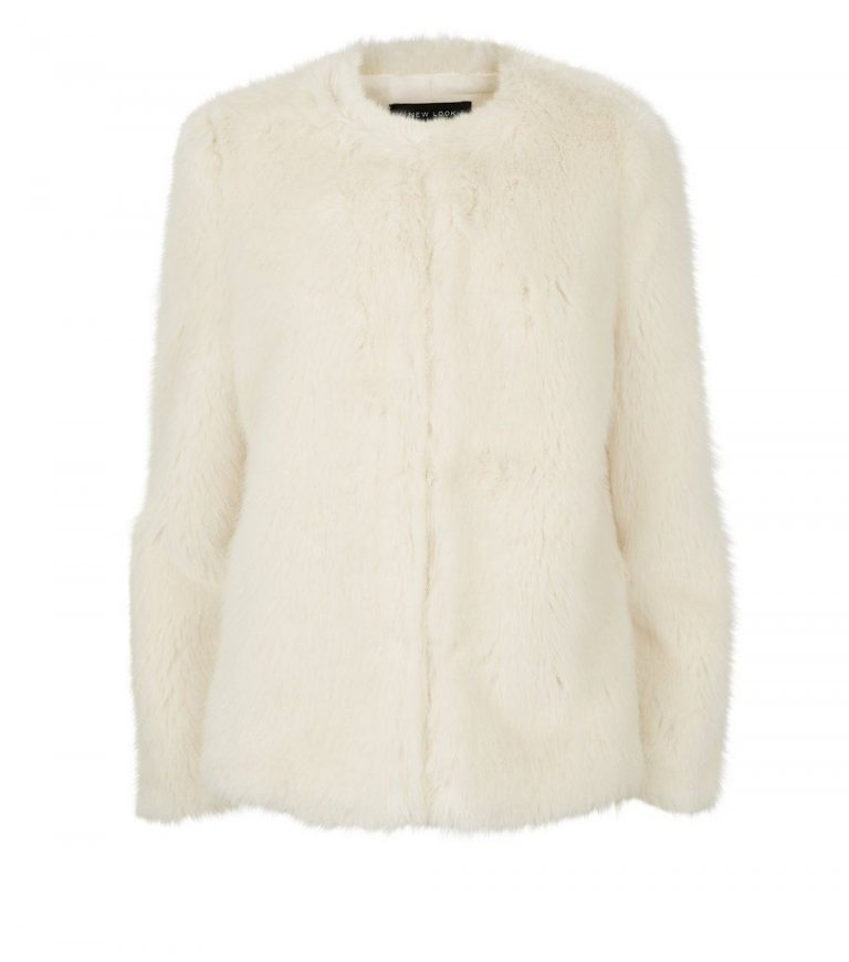 Cream collarless faux fur coat- New Look