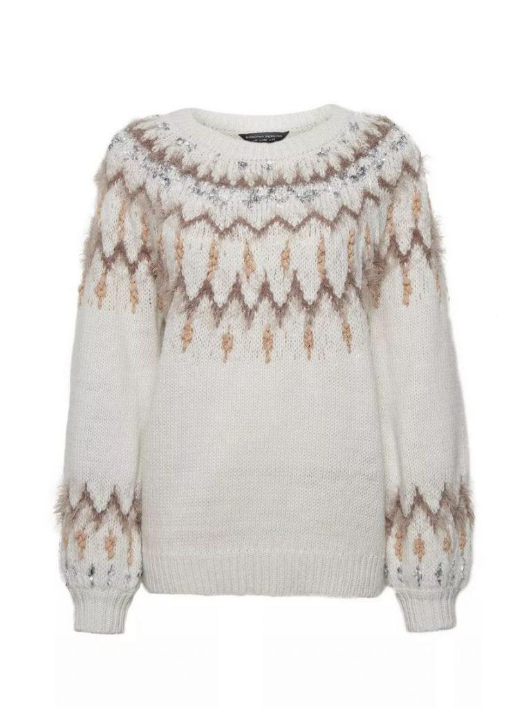 Cream feather fairisle yoke jumper- Dorothy Perkins