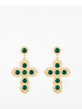 Emerald cross earrings- Very