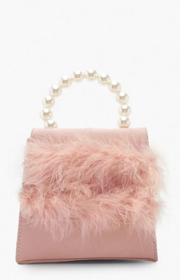Faux fur pearl handle bag- Boohoo