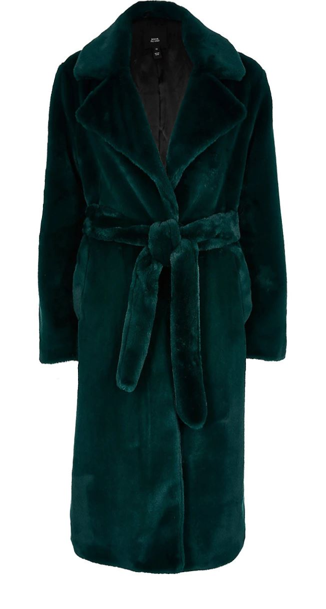 Green faux fur longline
