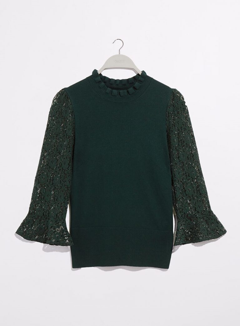 Green scallop lace knit jumper- Oasis (2)