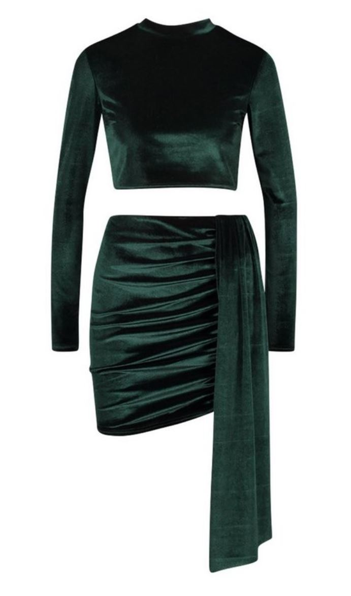 Green velvet crop tp and rouched drape mini skirt co-ord