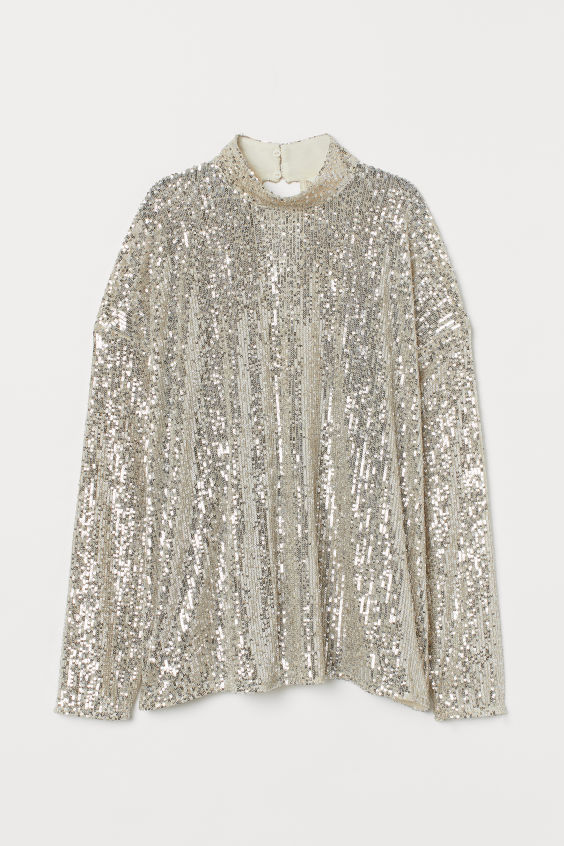 High-collared sequinned top- H&M