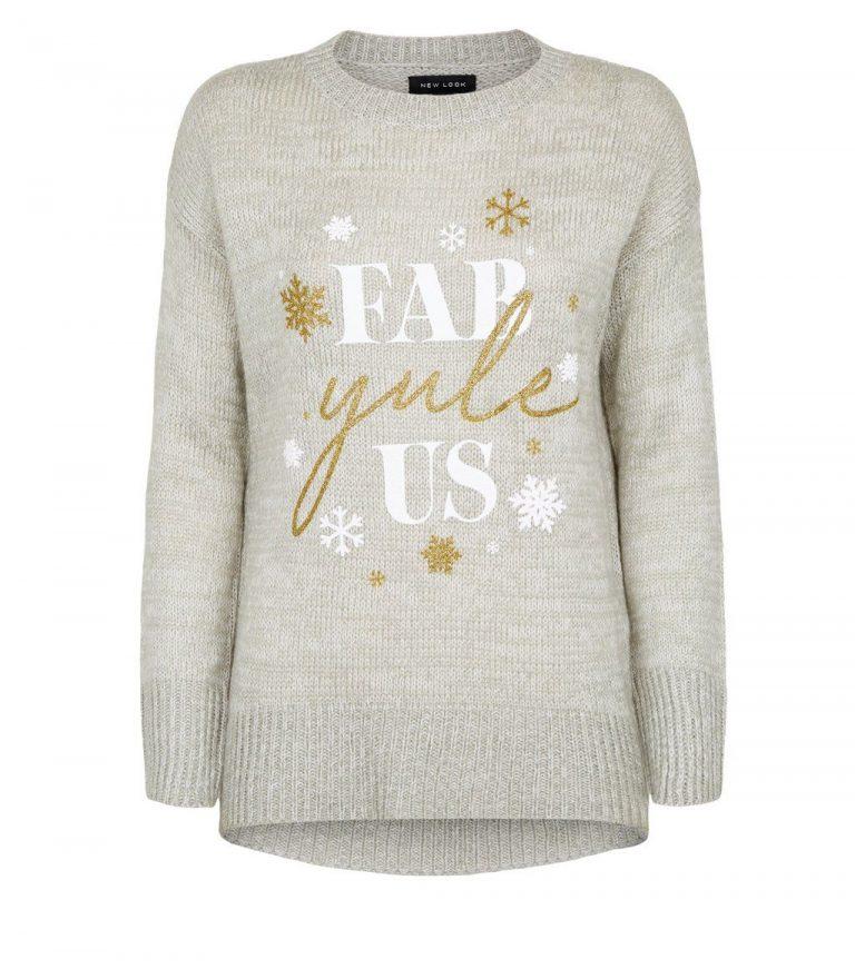 Light grey fab yule us slogan Christmas jumper- New Look