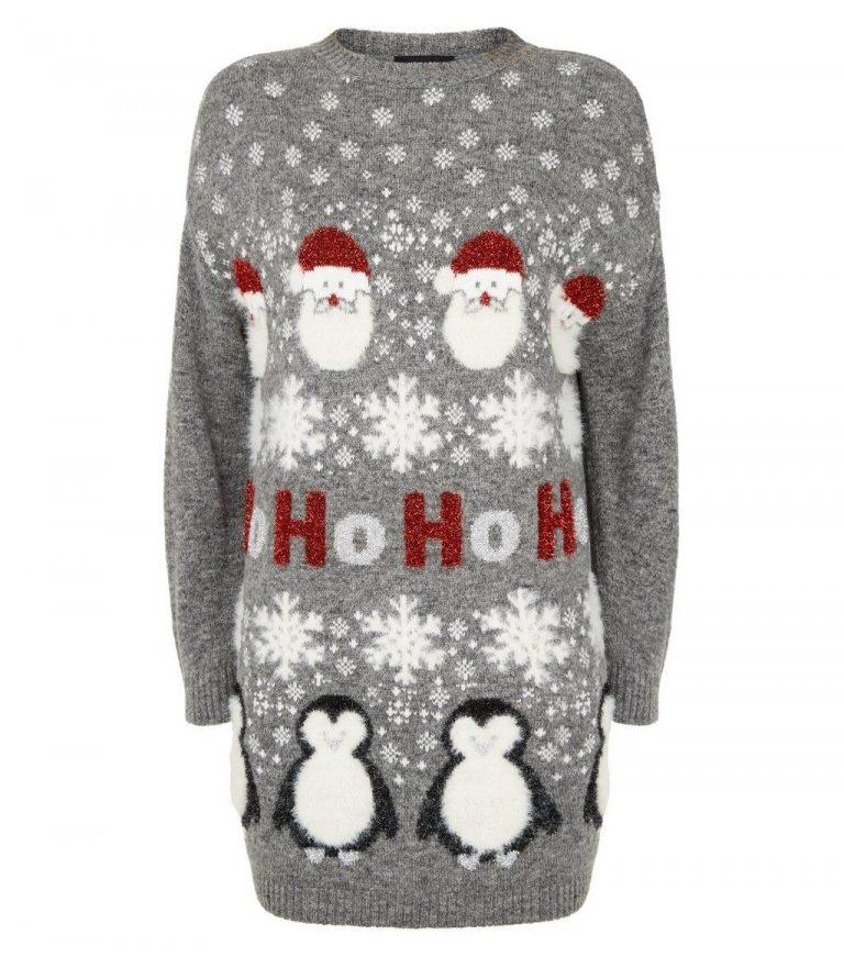 Light grey longline slogan Christmas jumper- New Look