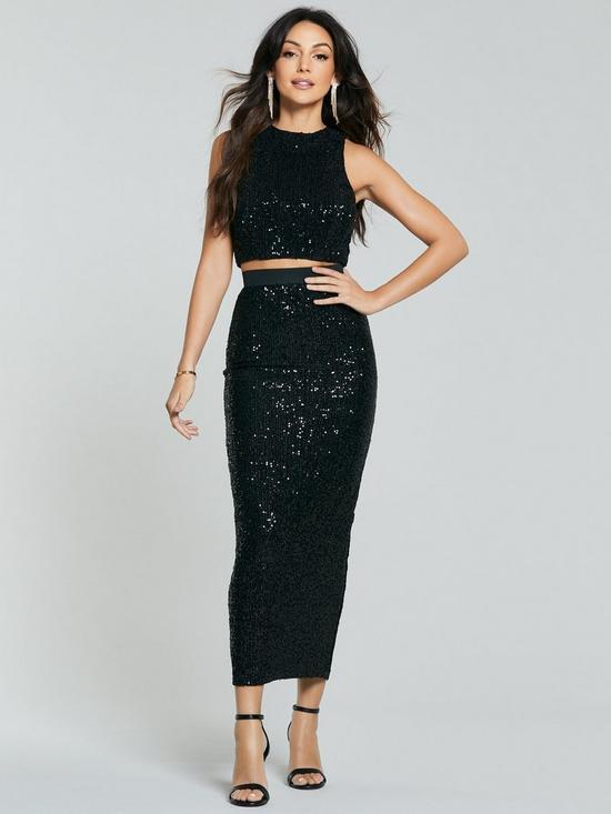 Michelle Keegan black sequinned crop top co-ord