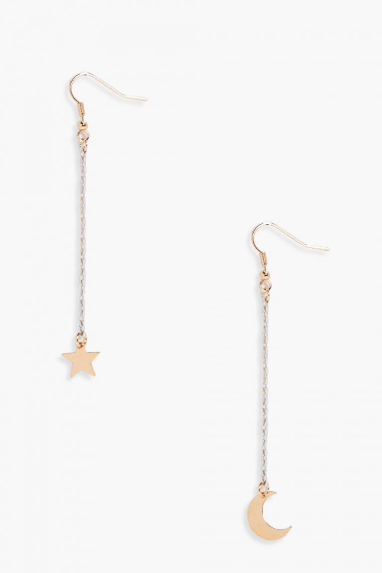 Moon and star drop earrings- Boohoo