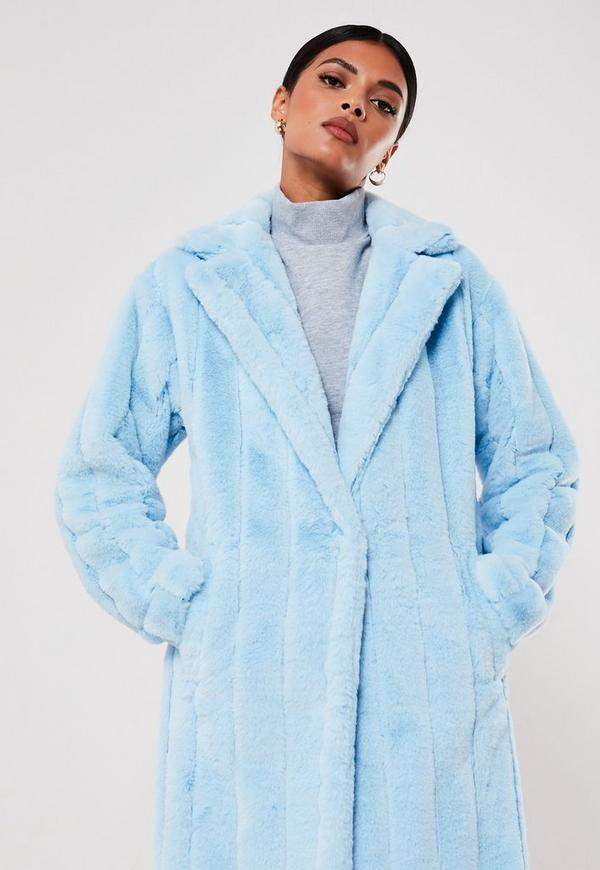 Premium blue pelted coat- Missguided