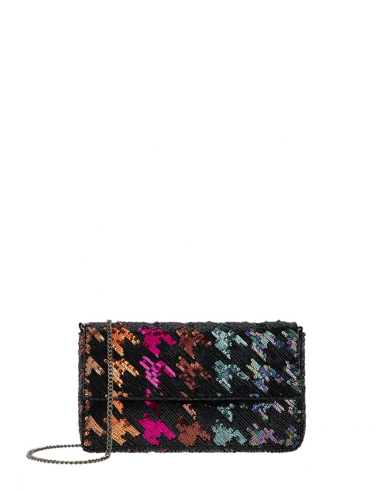 Rainbow sequinned clutch- Accessorize