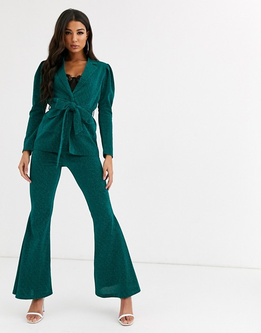 Rare London tie waist glitter blazer co ord- Asos