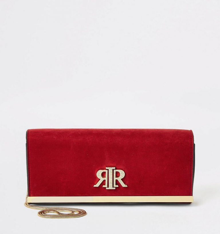 Red baguette clutch- River Island