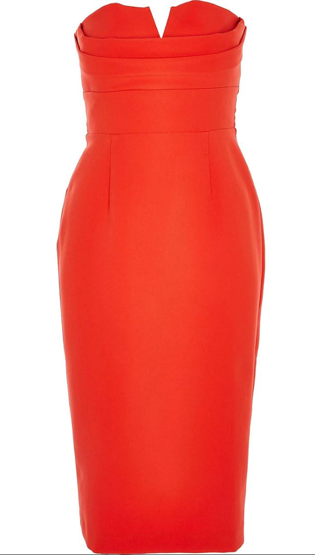Red bandeau bodycon dress- River Island