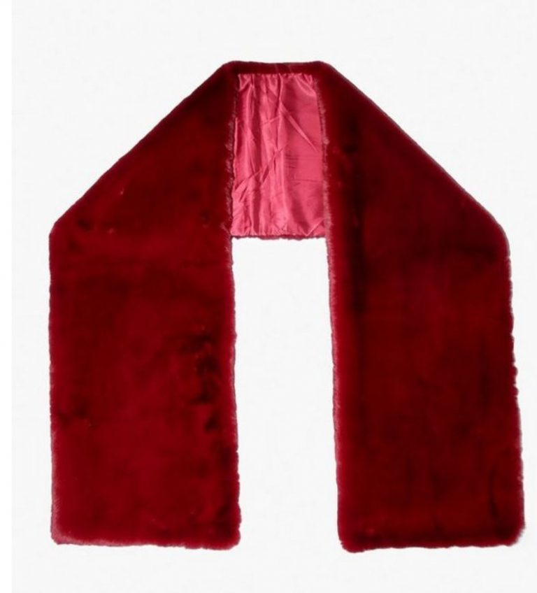 Red faux fur oversized scarf- Boohoo